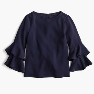 J.CREW Tiered bell-sleeve top in drapey crepe NWT